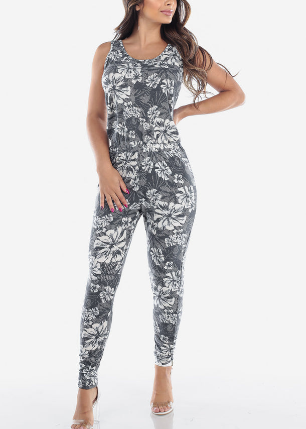 Cute Slip On 2019 New Grey Flower Print Sleeveless Super Stretchy Jumpsuit For Women Ladies Juniors