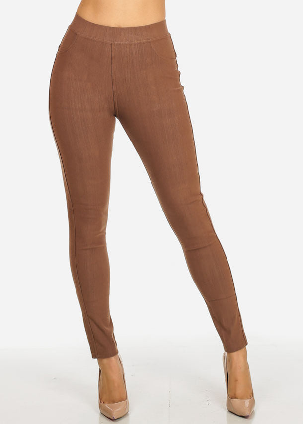 Mocha Pull-On Stretchy Skinny Pants