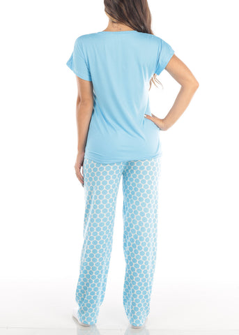 Short Sleeve V Neck Top And Polka Dot Pajama Pants Two Piece Set