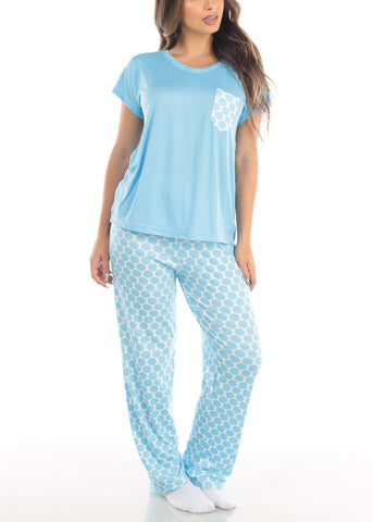 Blue Top & Polka Dot Pants (2 PCE PJ SET)