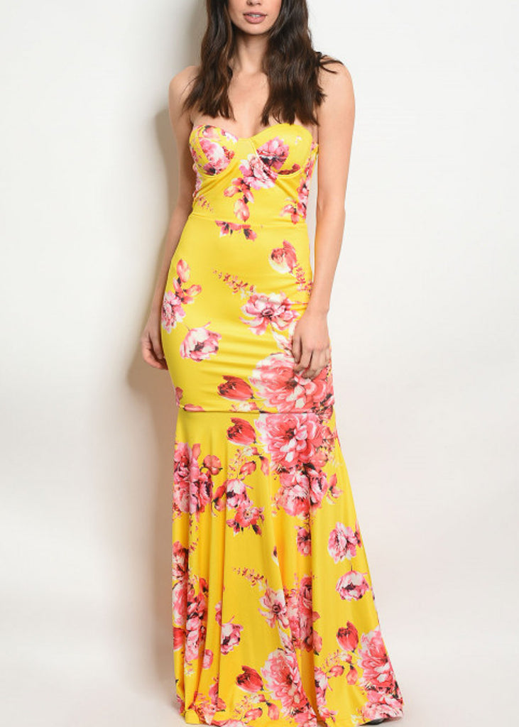 Strapless Floral Yellow Maxi Dress