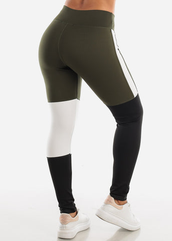 Image of Activewear Colorblock Olive Leggings