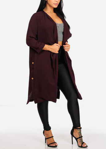 Stylish Oversized Raisin Blazer