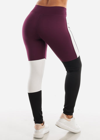 Activewear Colorblock Purple Leggings