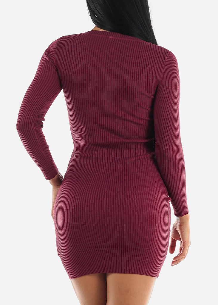Ribbed Burgundy Bodycon Sweater Dress
