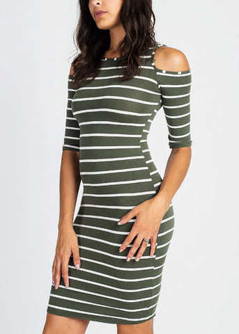 Image of Stylish Chic Striped Bodycon Dress