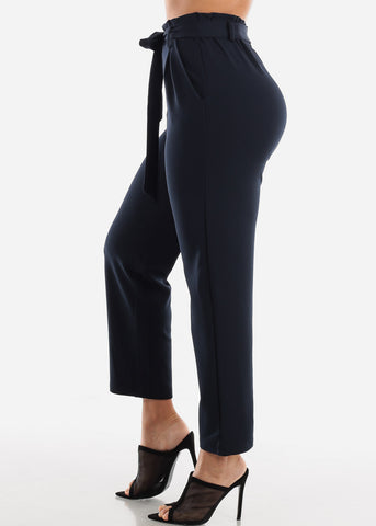 Image of Navy Belted Straight Leg Dress Pants