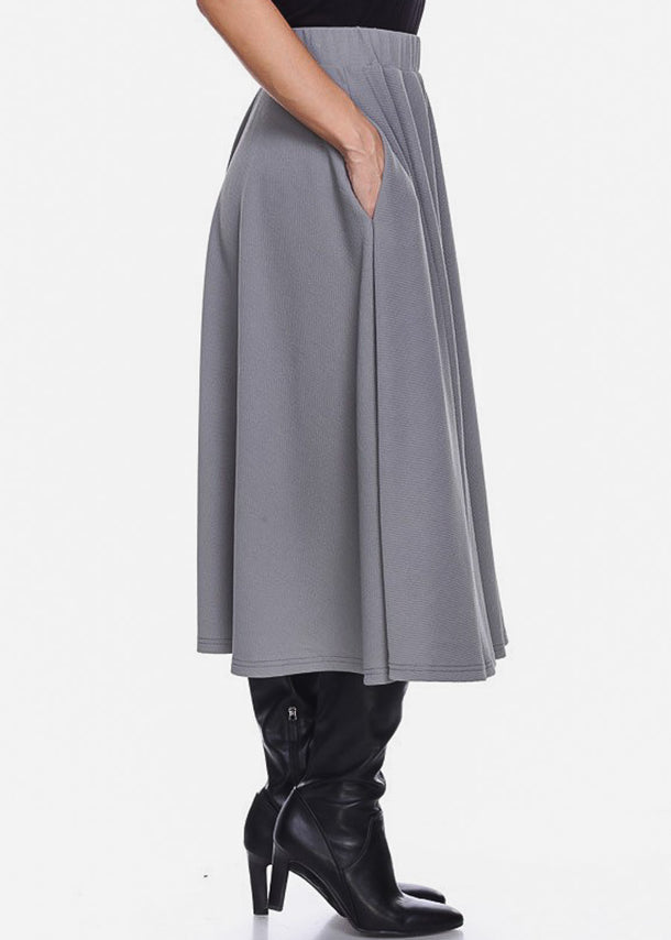 Fit & Flare Grey Midi Skirt
