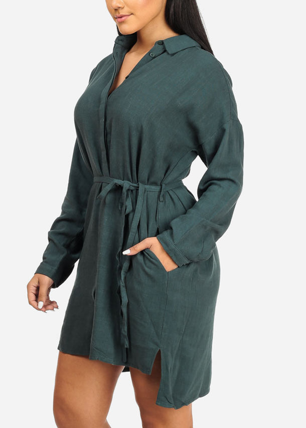 Tie Front Green Dress W Pockets