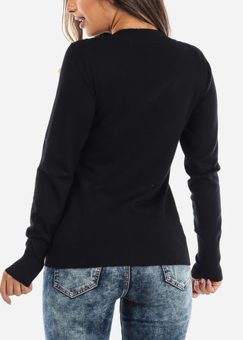 Image of Solid Black V-Neck Sweater SW200BLK