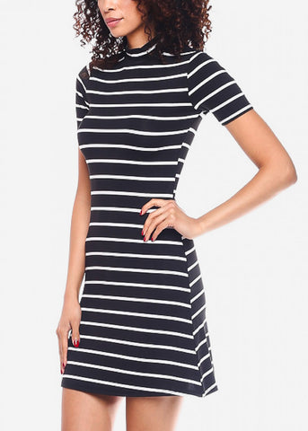 White Casual Striped Mini Dress