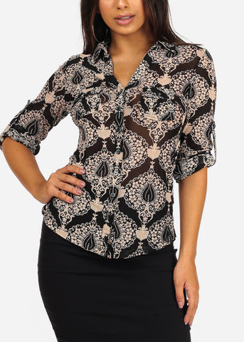 Stylish Button Up Neckline 3/4 Sleeve Abstract Print Blouse Top