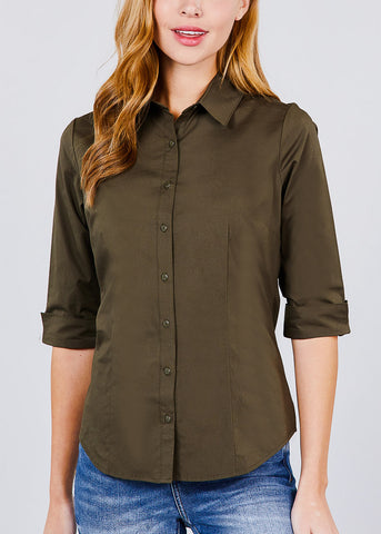 Olive Button Up 3/4 Sleeve Shirt
