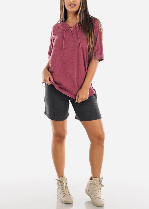 Casual Burgundy Tunic Top