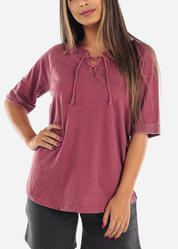 Casual Comfy Short Sleeve Lace Up Neck Stretchy Loose Fit Flowy Burgundy Tunic Top For Women Ladies Junior At Affordable Price On Sale