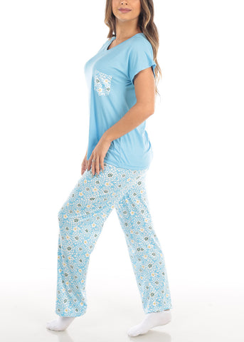 Image of Short Sleeve V Neck Top And Floral Print Pajama Pants Two Piece Set
