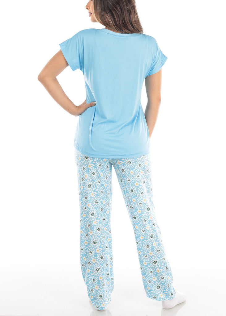 Short Sleeve V Neck Top And Floral Print Pajama Pants Two Piece Set