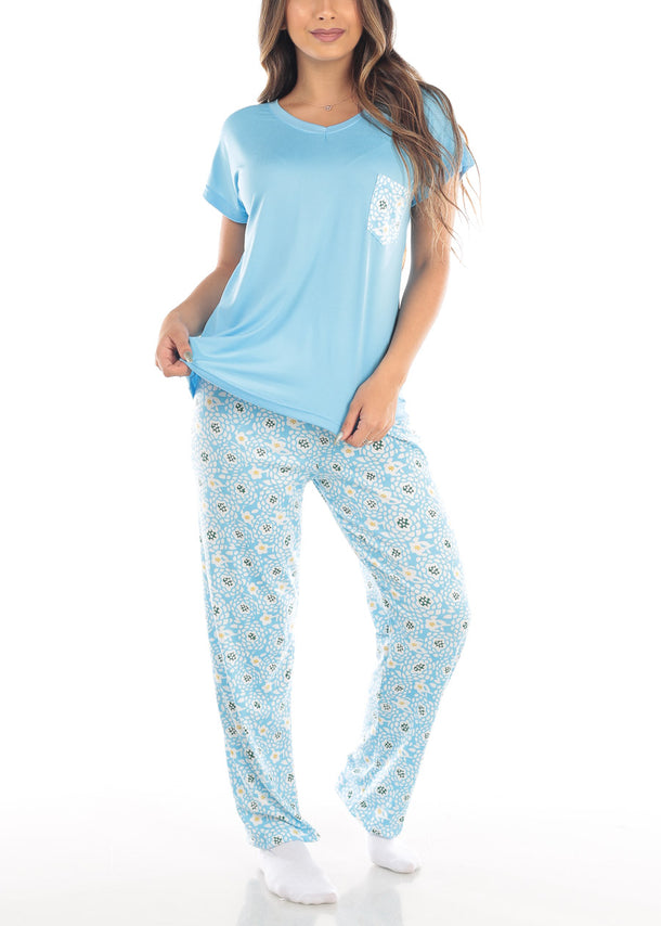 Blue Top & Floral Pants (2 PCE PJ SET)