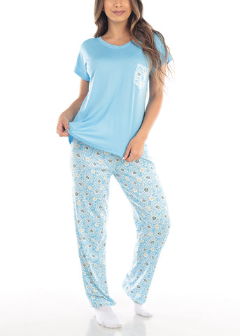 Image of Blue Top & Floral Pants (2 PCE PJ SET)