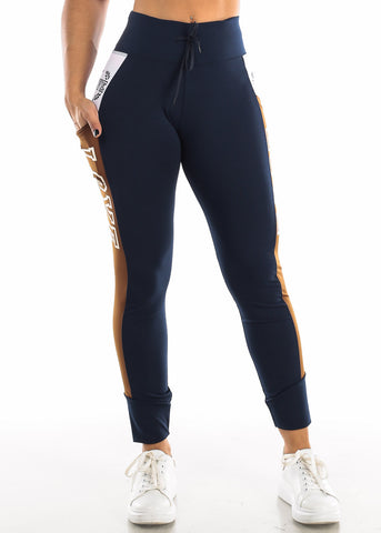"Activewear Brown & Navy Leggings ""Love"""