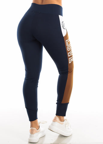 "Image of Activewear Brown & Navy Leggings ""Love"""