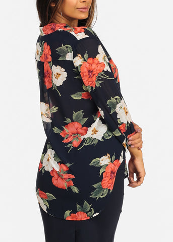 Affordable Navy Floral Red Print Blouse