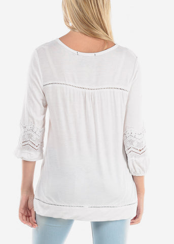 Women's Junior Ladies Casual Going Out Button Up Neckline Crochet Design White Stretchy Tunic Top