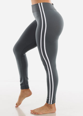 Side Stripe Grey Wide Waist Leggings