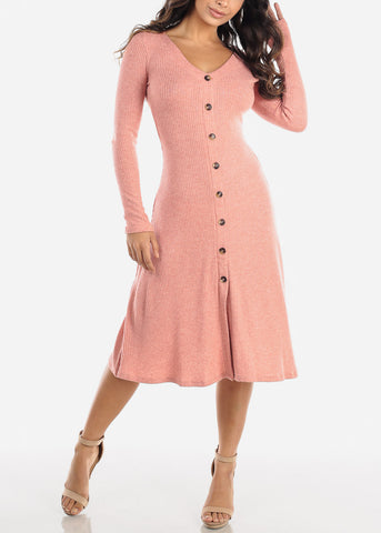 Pink Button Down Sweater Dress