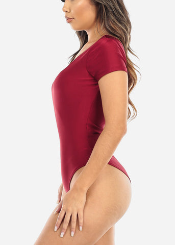 Image of Deep Round Neck Burgundy Bodysuit