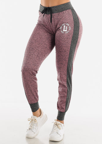 Image of Heather Mauve Fleece Drawstring Jogger
