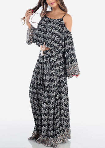 Sexy Stylish Lightweight Black Floral Print Angel Long Sleeve Cold Shoulder Crop Top And High Waisted Maxi Skirt With Pockets Two Piece Set For Women Junior Ladies