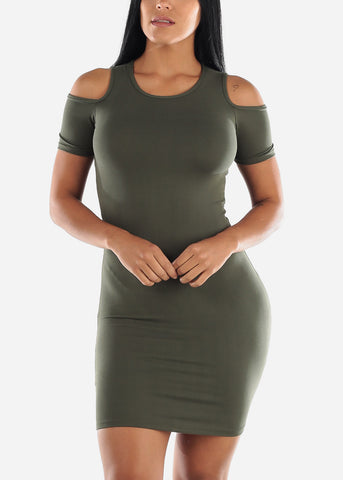 Image of Olive Cold Shoulder Bodycon Dress