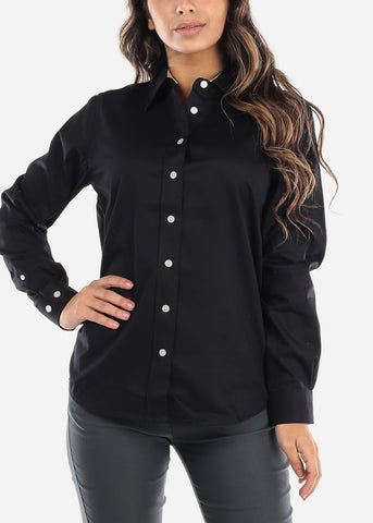 Cotton Button Down Black Shirt