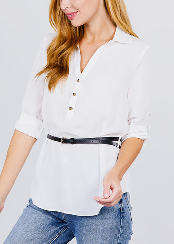 Half Button Up Lightweight White Shirt