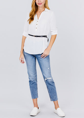 Image of Half Button Up Lightweight White Shirt