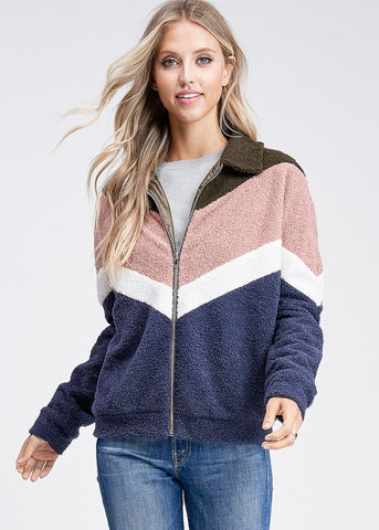 Zip Up Multicolor Zig Zag Jacket