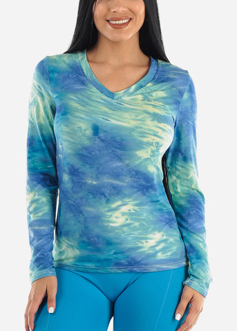 Image of Vneck Tie Dye Blue Top