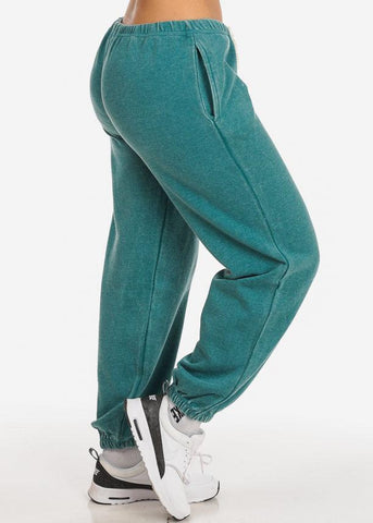Image of Cotton blend Teal Low Rise Drawstring Waist Jogger Pants