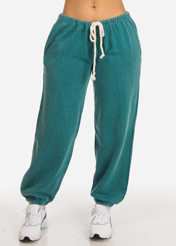 Affordable Teal Low Rise Drawstring Waist Jogger Pants