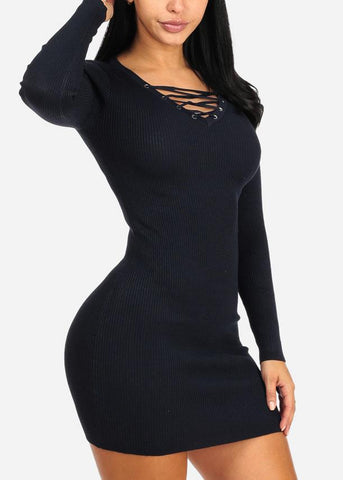 Navy Lace Up Mini Knitted Dress