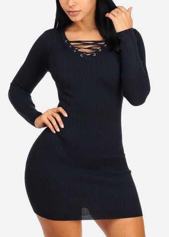Discount Navy Lace Up Mini Knitted Dress