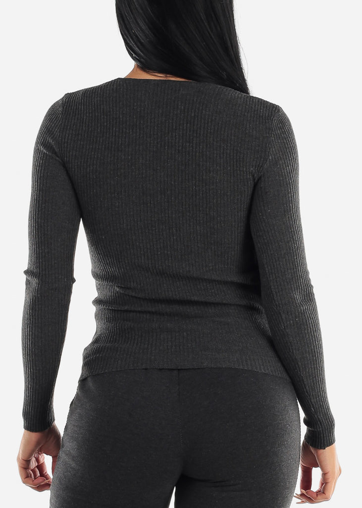 V-Neck Viscose Rib Charcoal Sweater