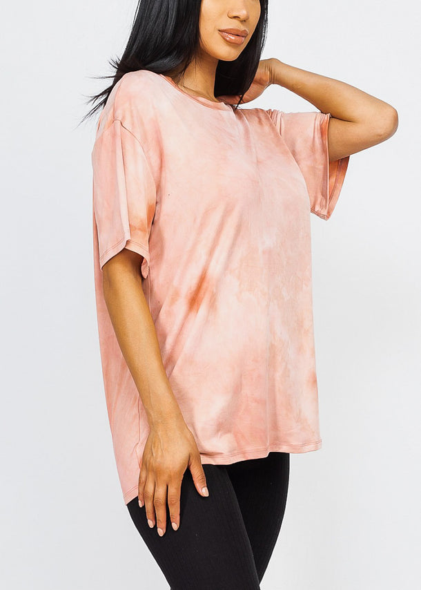 Mauve Tie Dye Oversized Top
