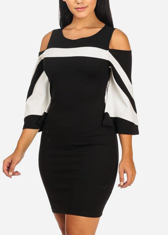 Cold Shoulder Black  Bodycon Dress