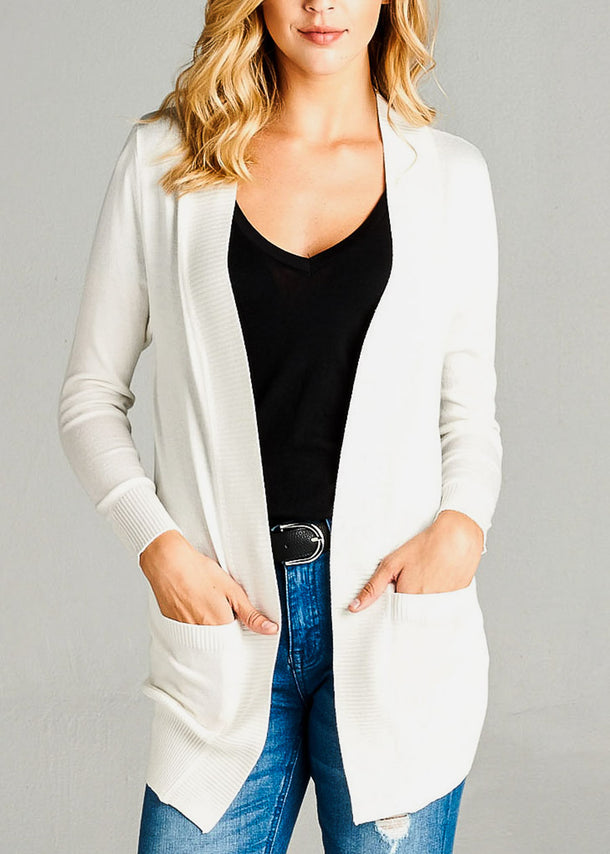 White Ribbed Banded Open Sweater Cardigan