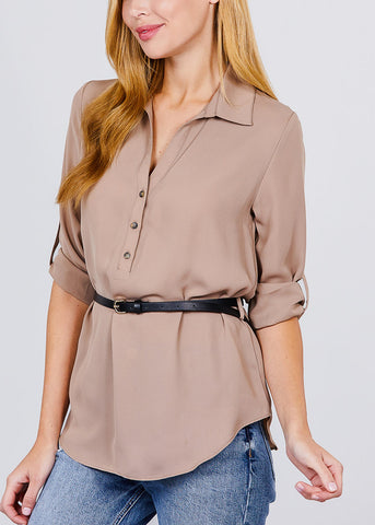 Image of Half Button Up Lightweight Khaki Shirt
