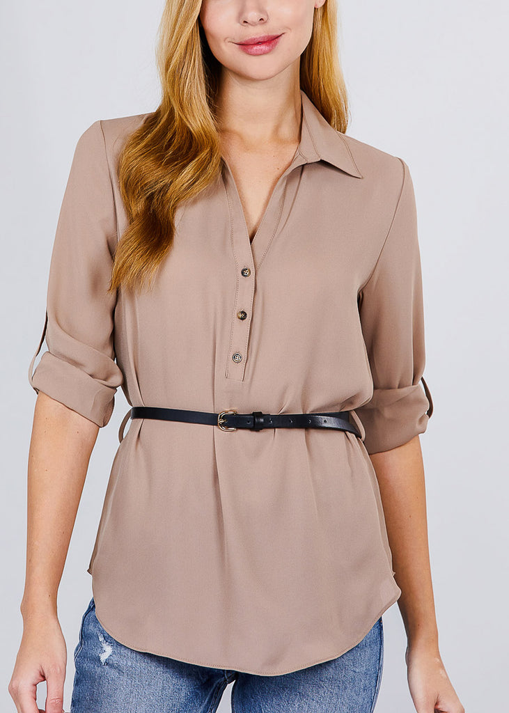 Half Button Up Lightweight Khaki Shirt