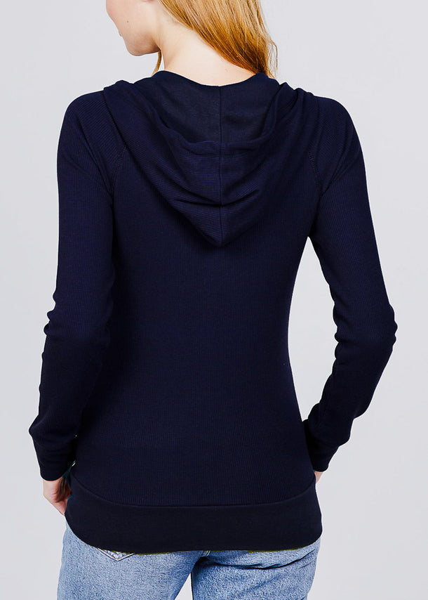 Long Sleeve Navy Thermal Hoodie
