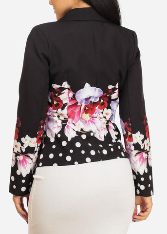 Image of Elegant Black Floral w Pocket Blazer